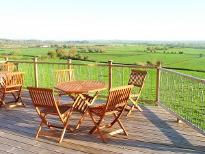sunny deck overlooking the Somerset levels